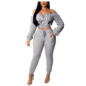 Tie Front Off-Shoulder 2-pc Long Sleeve Jumpsuit